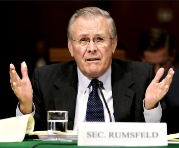 A rather confused looking Donald Rumsfeld